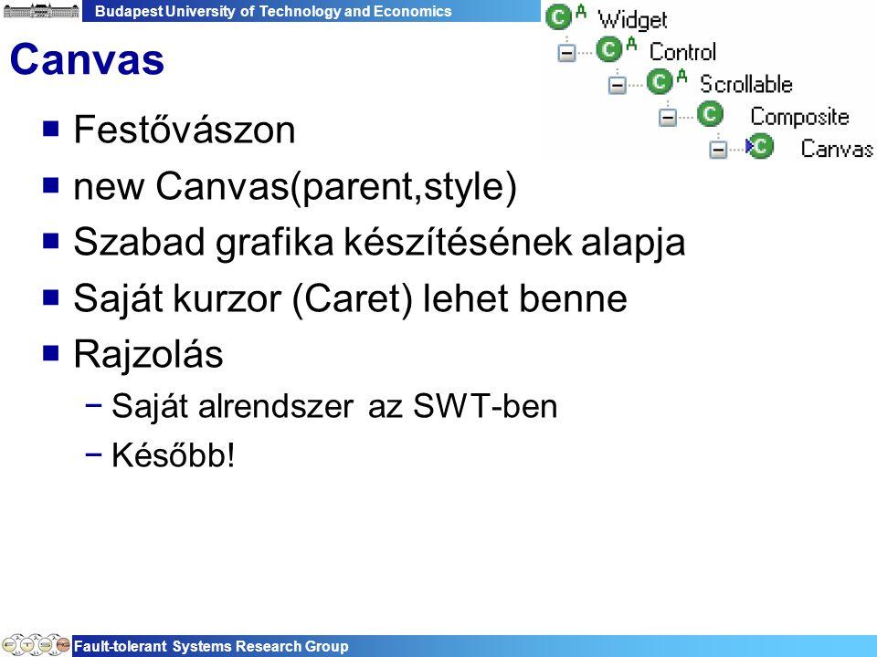 Budapest University of Technology and Economics Fault-tolerant Systems Research Group 60 Canvas  Festővászon  new Canvas(parent,style)  Szabad grafika készítésének alapja  Saját kurzor (Caret) lehet benne  Rajzolás −Saját alrendszer az SWT-ben −Később!
