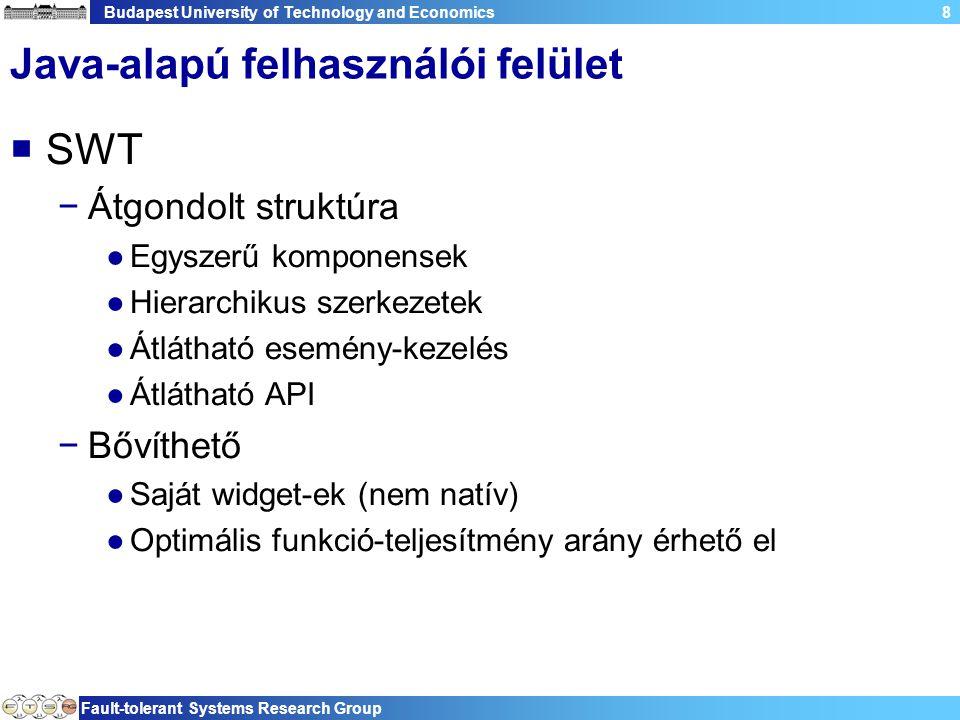 Budapest University of Technology and Economics Fault-tolerant Systems Research Group 59 Composite  Metódusok −getChildren() −setLayout(Layout) −layout(boolean) −setTabList(Control[])  Megjegyzés −Lehetnek gyermekei −Lehet layout-ja −Örököltethető, hogy saját elemeket hozhassunk létre