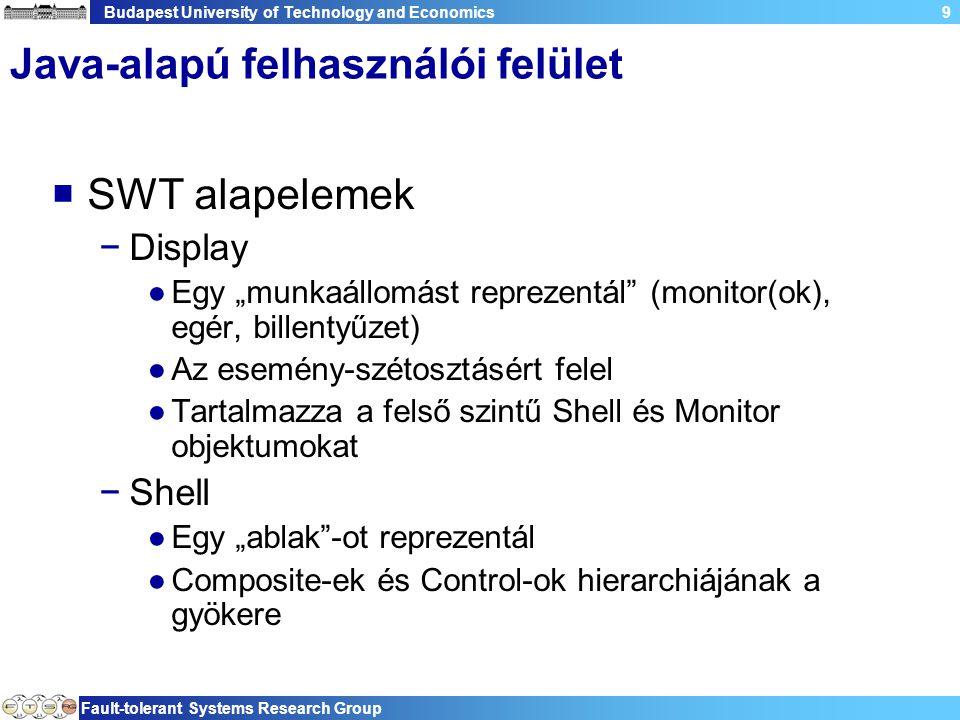 """Budapest University of Technology and Economics Fault-tolerant Systems Research Group 9 Java-alapú felhasználói felület  SWT alapelemek −Display ●Egy """"munkaállomást reprezentál (monitor(ok), egér, billentyűzet) ●Az esemény-szétosztásért felel ●Tartalmazza a felső szintű Shell és Monitor objektumokat −Shell ●Egy """"ablak -ot reprezentál ●Composite-ek és Control-ok hierarchiájának a gyökere"""