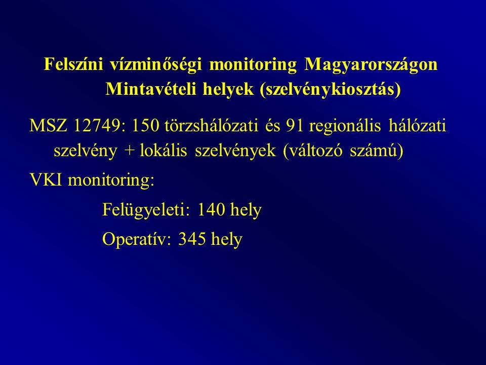 Felszíni vízminőségi monitoring Magyarországon Mintavételi helyek (szelvénykiosztás) MSZ 12749: 150 törzshálózati és 91 regionális hálózati szelvény + lokális szelvények (változó számú) VKI monitoring: Felügyeleti: 140 hely Operatív: 345 hely
