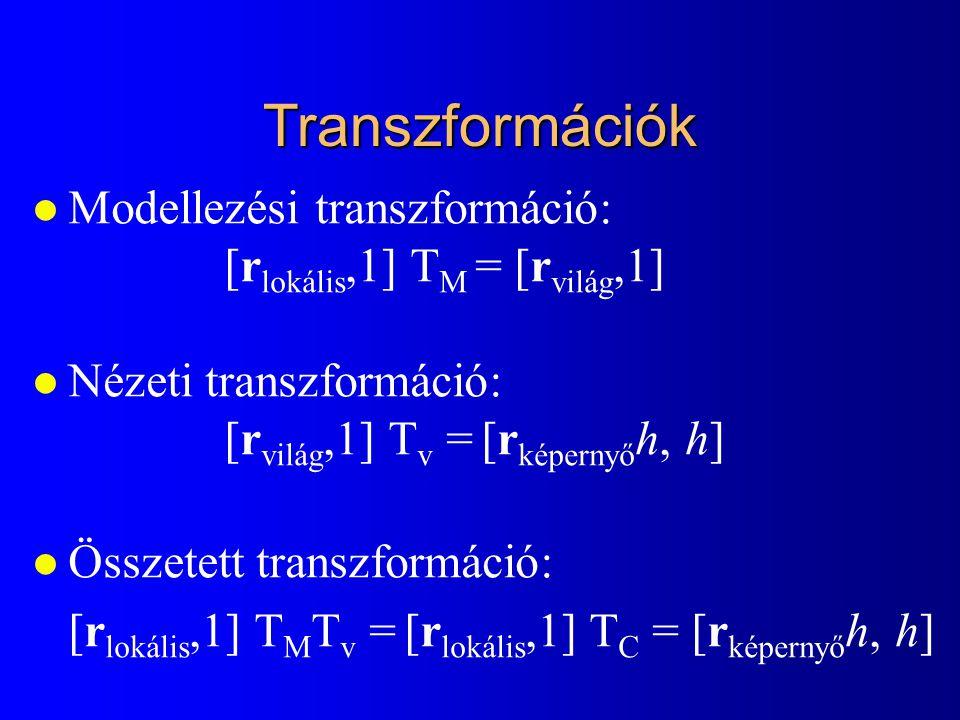 Transzformációk l Modellezési transzformáció: [r lokális,1] T M = [r világ,1] l Nézeti transzformáció: [r világ,1] T v = [r képernyő h, h] l Összetett
