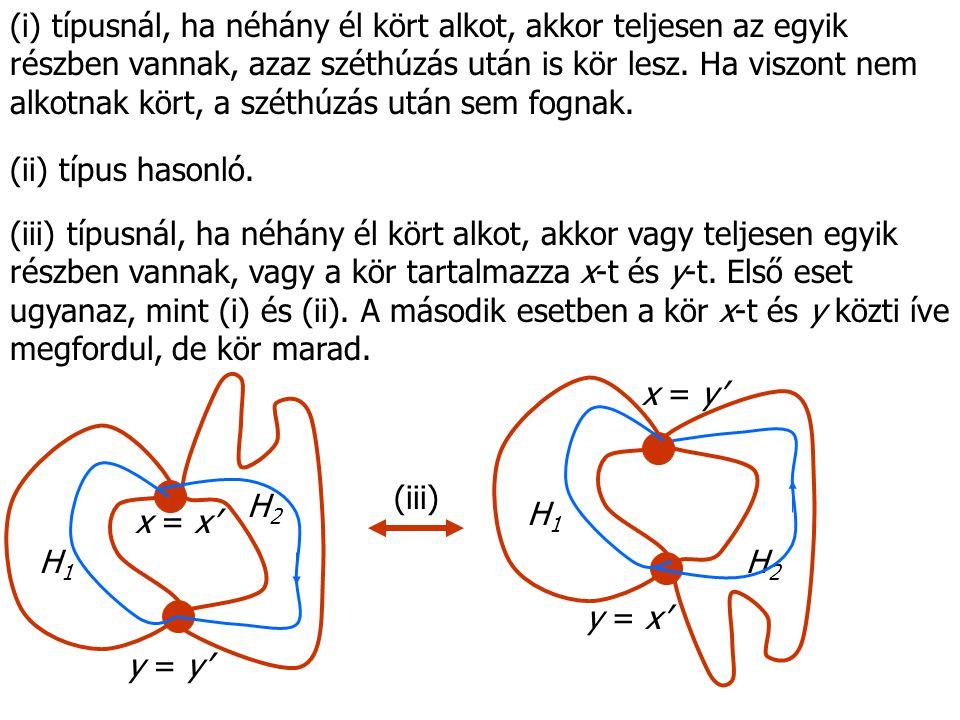 (i) típusnál, ha néhány él kört alkot, akkor teljesen az egyik részben vannak, azaz széthúzás után is kör lesz.