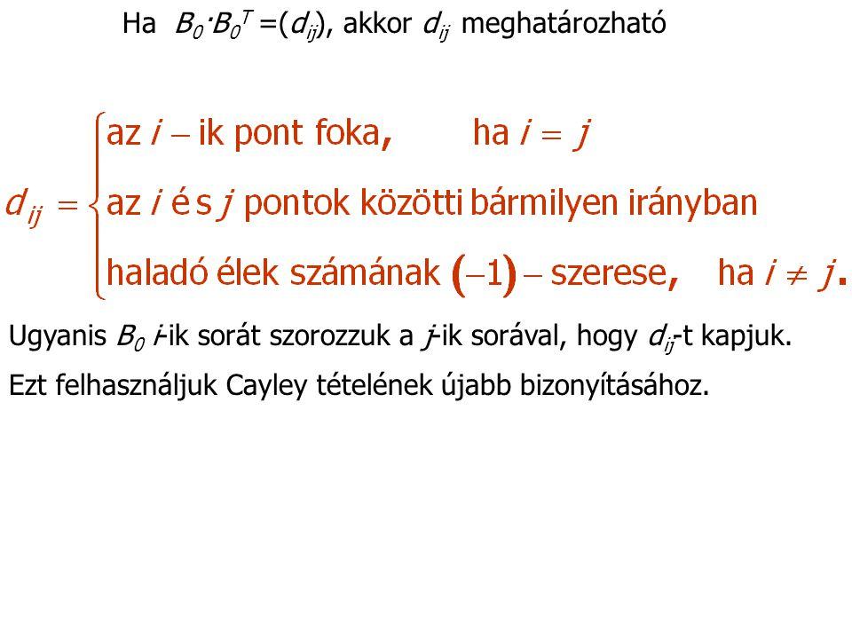 Ha B 0 ·B 0 T =(d ij ), akkor d ij meghatározható Ugyanis B 0 i-ik sorát szorozzuk a j-ik sorával, hogy d ij -t kapjuk.