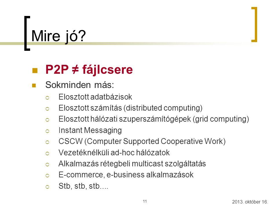 2013.október 16. 12 Miről lehet beszélni P2P kapcsán.