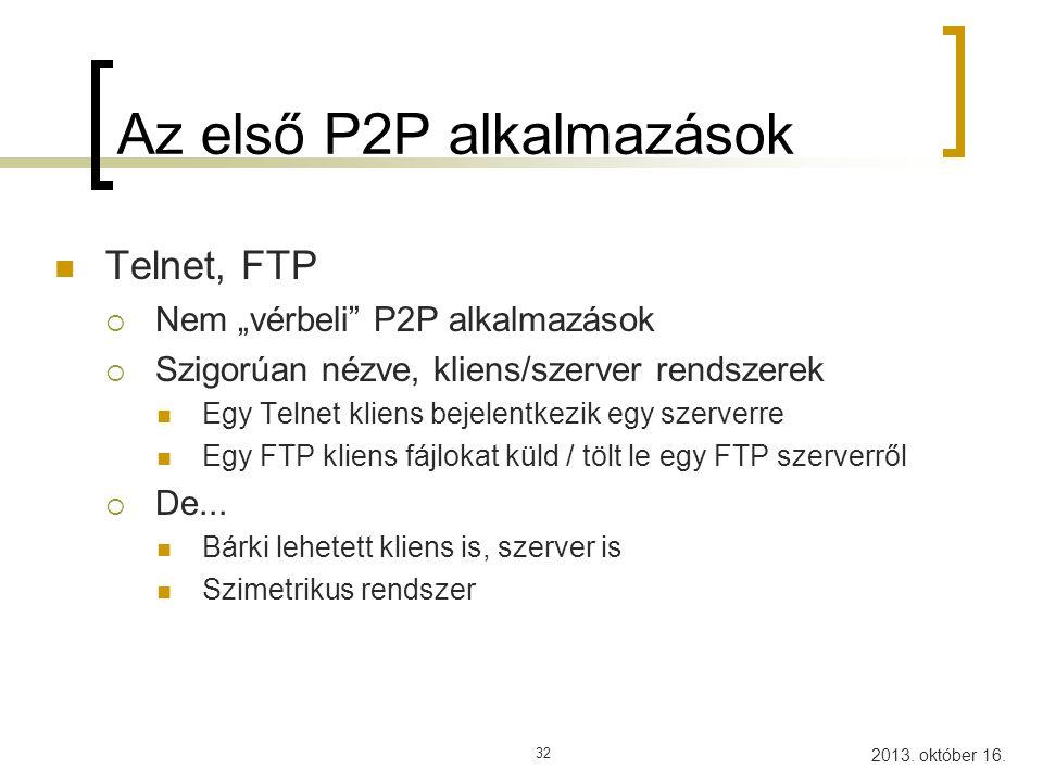 2013.október 16. 33 Usenet A mai P2P alkalmazások nagypapija...