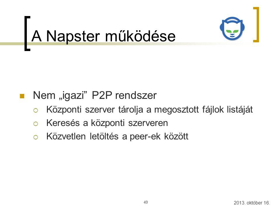 2013.október 16. P2P hálózatok50 Példa 1. Bejelentkezés (Alíz, Fájl lista) 4.