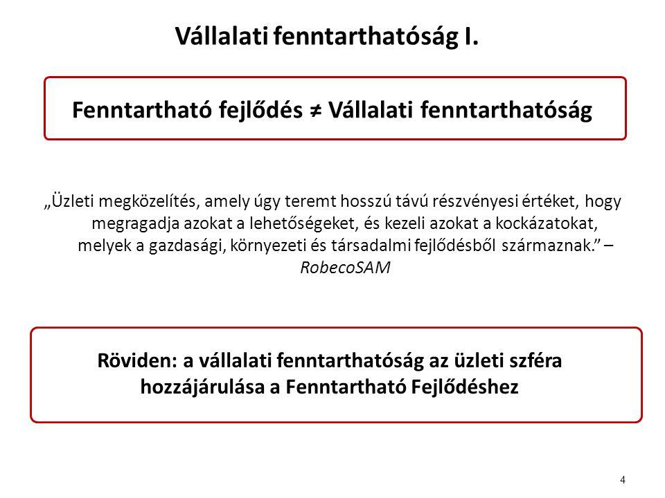 Fenntarthatósági jelentéstétel – általános II.