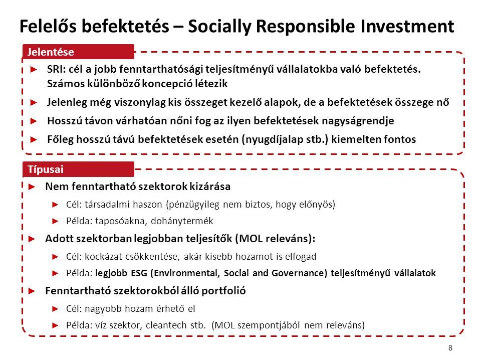 Felelős befektetések - SRI Fenntartható szektorok Fenntartható vállalatok 9