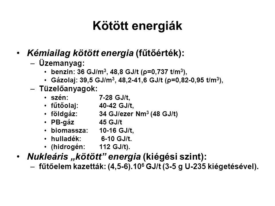 Kötött energiák Kémiailag kötött energia (fűtőérték): –Üzemanyag: benzin: 36 GJ/m 3, 48,8 GJ/t (ρ=0,737 t/m 3 ), Gázolaj: 39,5 GJ/m 3, 48,2-41,6 GJ/t (ρ=0,82-0,95 t/m 3 ), –Tüzelőanyagok: szén: 7-28 GJ/t, fűtőolaj:40-42 GJ/t, földgáz: 34 GJ/ezer Nm 3 (48 GJ/t) PB-gáz45 GJ/t biomassza:10-16 GJ/t, hulladék: 6-10 GJ/t.