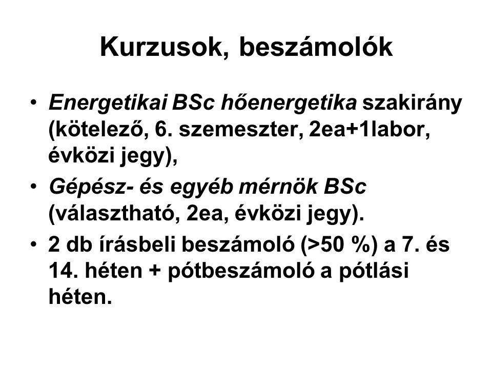 Kurzusok, beszámolók Energetikai BSc hőenergetika szakirány (kötelező, 6. szemeszter, 2ea+1labor, évközi jegy), Gépész- és egyéb mérnök BSc (választha
