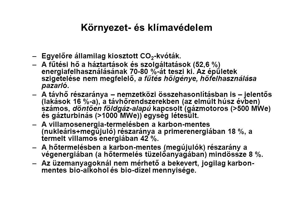 Környezet- és klímavédelem –Egyelőre államilag kiosztott CO 2 -kvóták. –A fűtési hő a háztartások és szolgáltatások (52,6 %) energiafelhasználásának 7