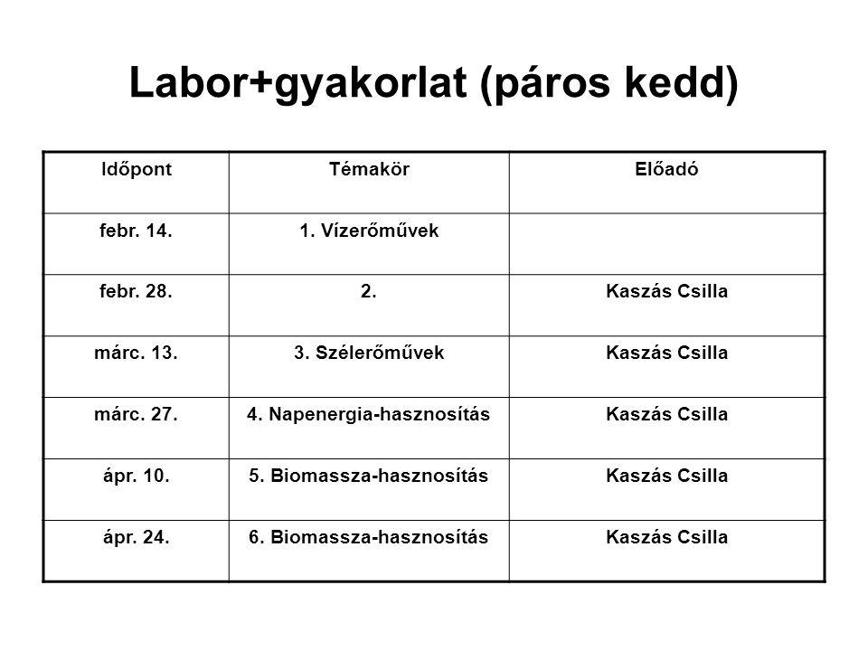 Labor+gyakorlat (páros kedd) IdőpontTémakörElőadó febr. 14.1. Vízerőművek febr. 28.2.Kaszás Csilla márc. 13.3. SzélerőművekKaszás Csilla márc. 27.4. N
