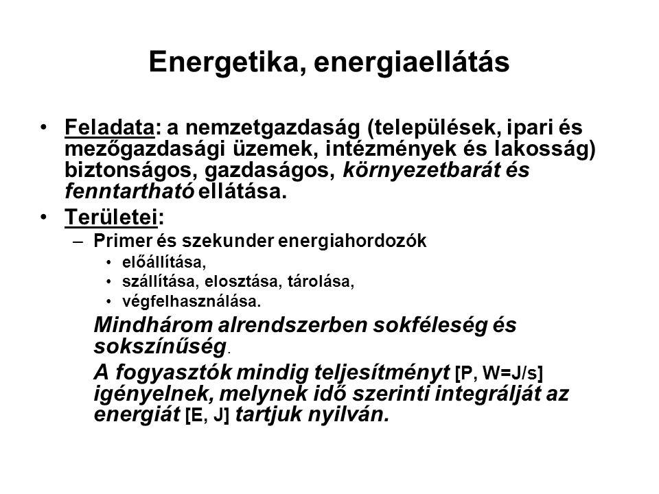 Energetika, energiaellátás Feladata: a nemzetgazdaság (települések, ipari és mezőgazdasági üzemek, intézmények és lakosság) biztonságos, gazdaságos, k