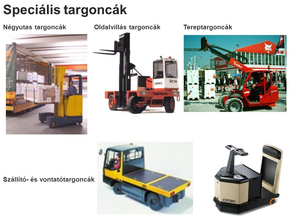Speciális targoncák Négyutas targoncák Szállító- és vontatótargoncák Oldalvillás targoncákTereptargoncák