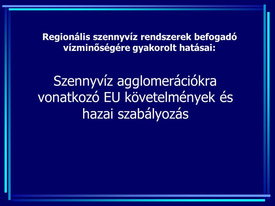 Szennyvíz agglomerációkra vonatkozó EU követelmények és hazai szabályozás Regionális szennyvíz rendszerek befogadó vízminőségére gyakorolt hatásai: