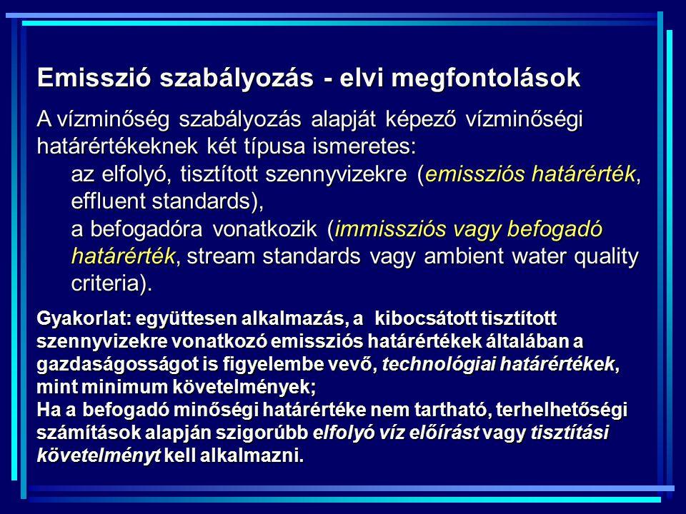 Emisszió szabályozás - elvi megfontolások A vízminőség szabályozás alapját képező vízminőségi határértékeknek két típusa ismeretes: az elfolyó, tisztí