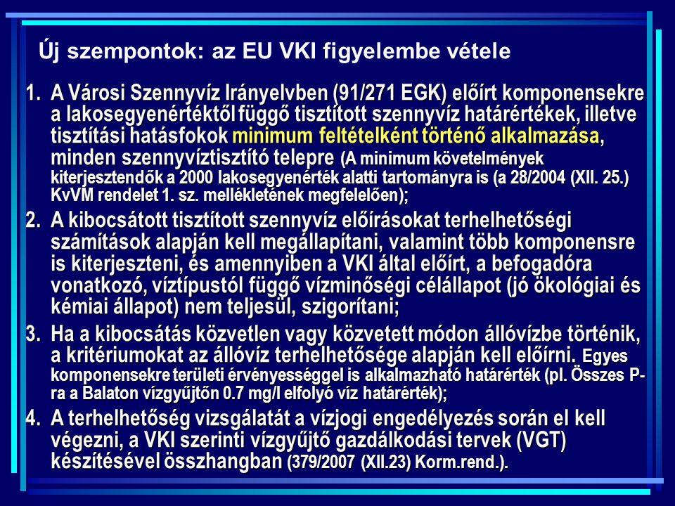 Új szempontok: az EU VKI figyelembe vétele 1.A Városi Szennyvíz Irányelvben (91/271 EGK) előírt komponensekre a lakosegyenértéktől függő tisztított sz