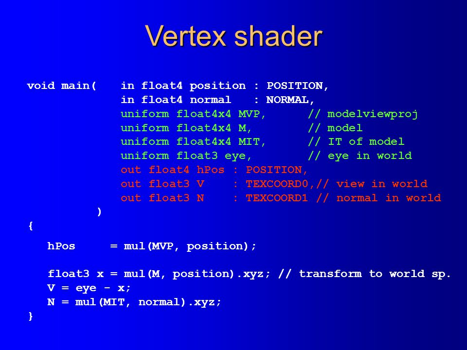 Vertex shader void main(in float4 position : POSITION, in float4 normal : NORMAL, uniform float4x4 MVP,// modelviewproj uniform float4x4 M,// model uniform float4x4 MIT,// IT of model uniform float3 eye,// eye in world out float4 hPos : POSITION, out float3 V : TEXCOORD0,// view in world out float3 N : TEXCOORD1 // normal in world ) { hPos = mul(MVP, position); float3 x = mul(M, position).xyz; // transform to world sp.