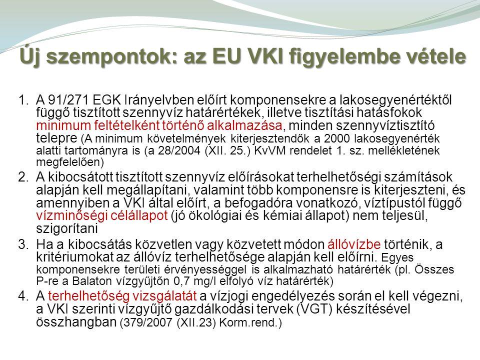 Új szempontok: az EU VKI figyelembe vétele 1.A 91/271 EGK Irányelvben előírt komponensekre a lakosegyenértéktől függő tisztított szennyvíz határértéke