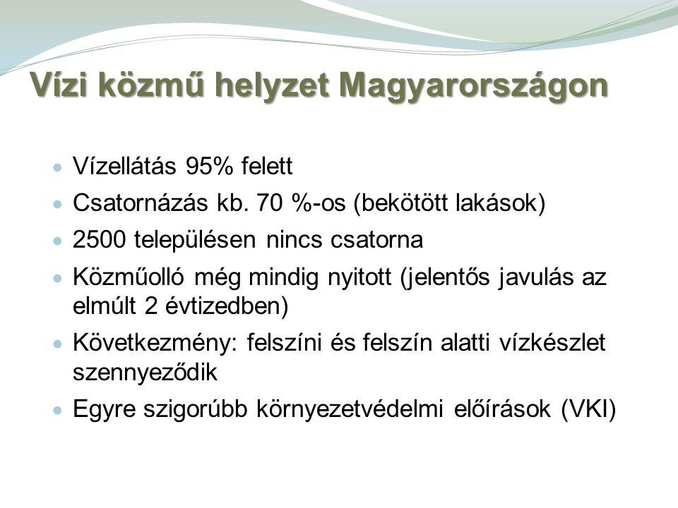 Vízi közmű helyzet Magyarországon  Vízellátás 95% felett  Csatornázás kb. 70 %-os (bekötött lakások)  2500 településen nincs csatorna  Közműolló m