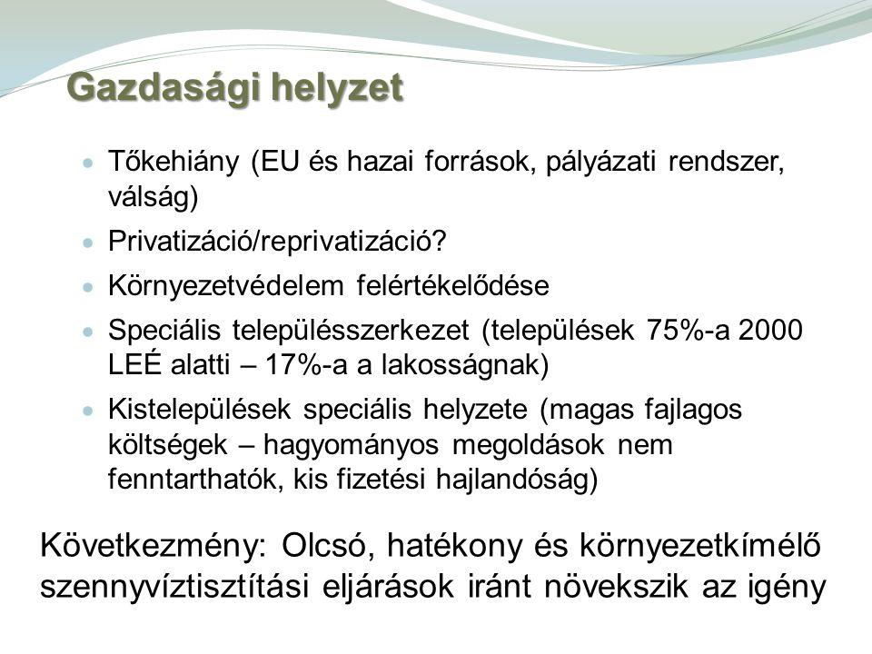 Gazdasági helyzet  Tőkehiány (EU és hazai források, pályázati rendszer, válság)  Privatizáció/reprivatizáció?  Környezetvédelem felértékelődése  S