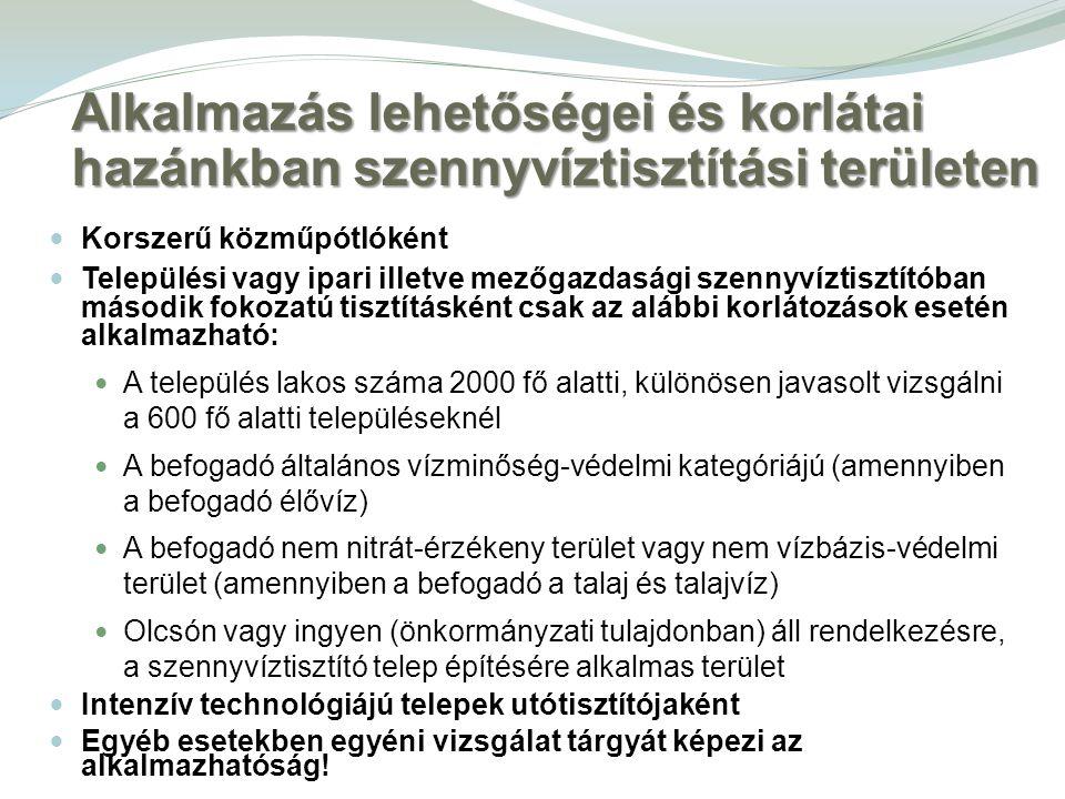 Alkalmazás lehetőségei és korlátai hazánkban szennyvíztisztítási területen Korszerű közműpótlóként Települési vagy ipari illetve mezőgazdasági szennyv