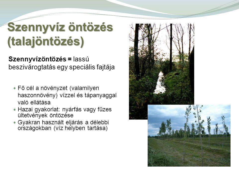 Szennyvíz öntözés (talajöntözés) Szennyvízöntözés = lassú beszivárogtatás egy speciális fajtája Fő cél a növényzet (valamilyen haszonnövény) vízzel és