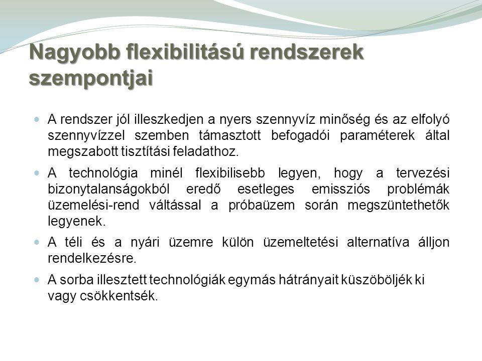 Nagyobb flexibilitású rendszerek szempontjai A rendszer jól illeszkedjen a nyers szennyvíz minőség és az elfolyó szennyvízzel szemben támasztott befog