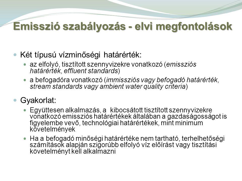 Két típusú vízminőségi határérték: az elfolyó, tisztított szennyvizekre vonatkozó (emissziós határérték, effluent standards) a befogadóra vonatkozó (i