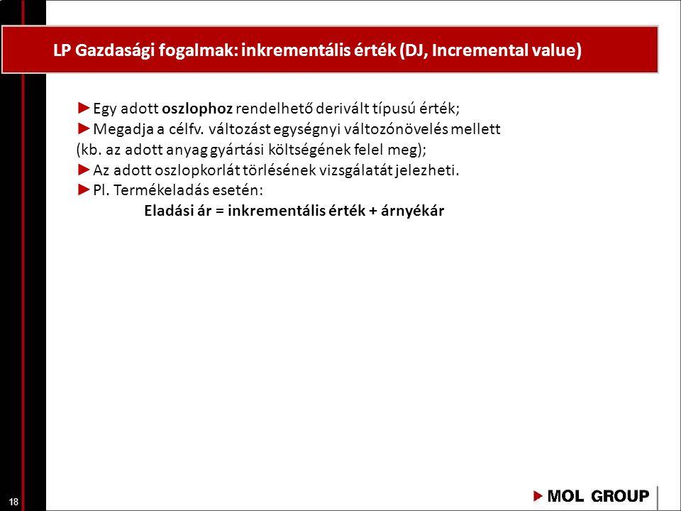 18 LP Gazdasági fogalmak: inkrementális érték (DJ, Incremental value) ► Egy adott oszlophoz rendelhető derivált típusú érték; ► Megadja a célfv. válto