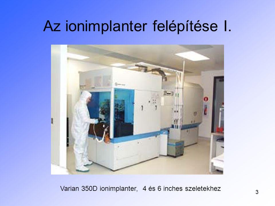 3 Az ionimplanter felépítése I. Varian 350D ionimplanter, 4 és 6 inches szeletekhez
