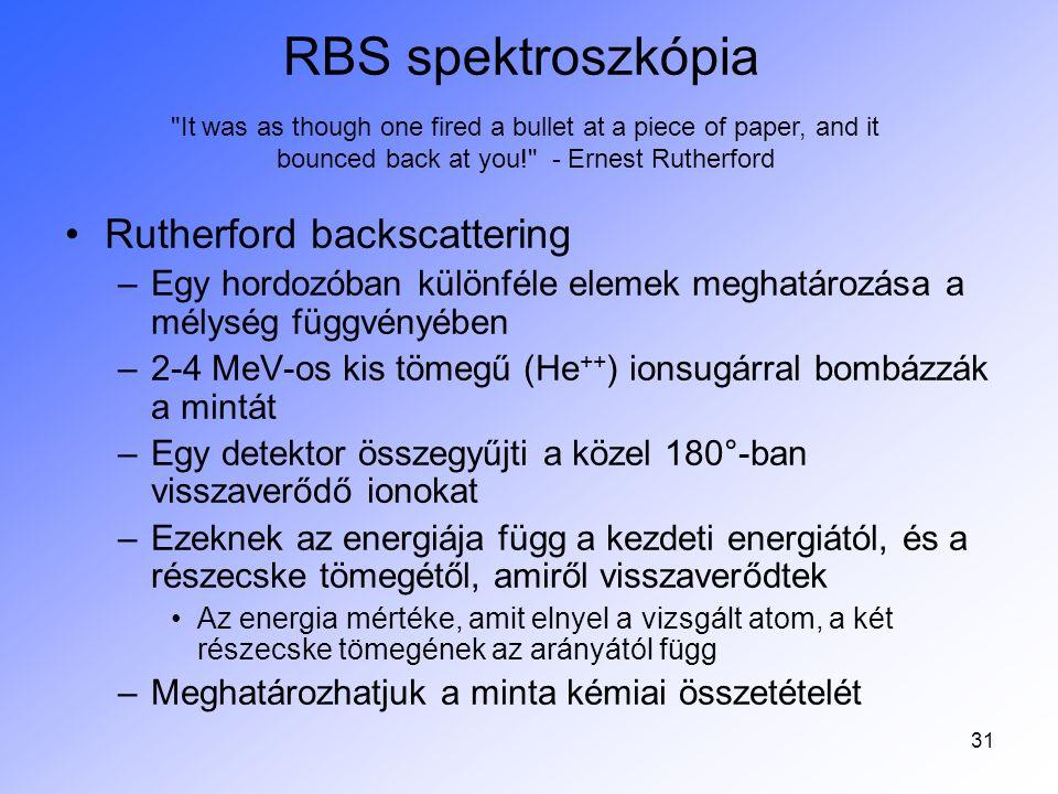 31 RBS spektroszkópia Rutherford backscattering –Egy hordozóban különféle elemek meghatározása a mélység függvényében –2-4 MeV-os kis tömegű (He ++ )