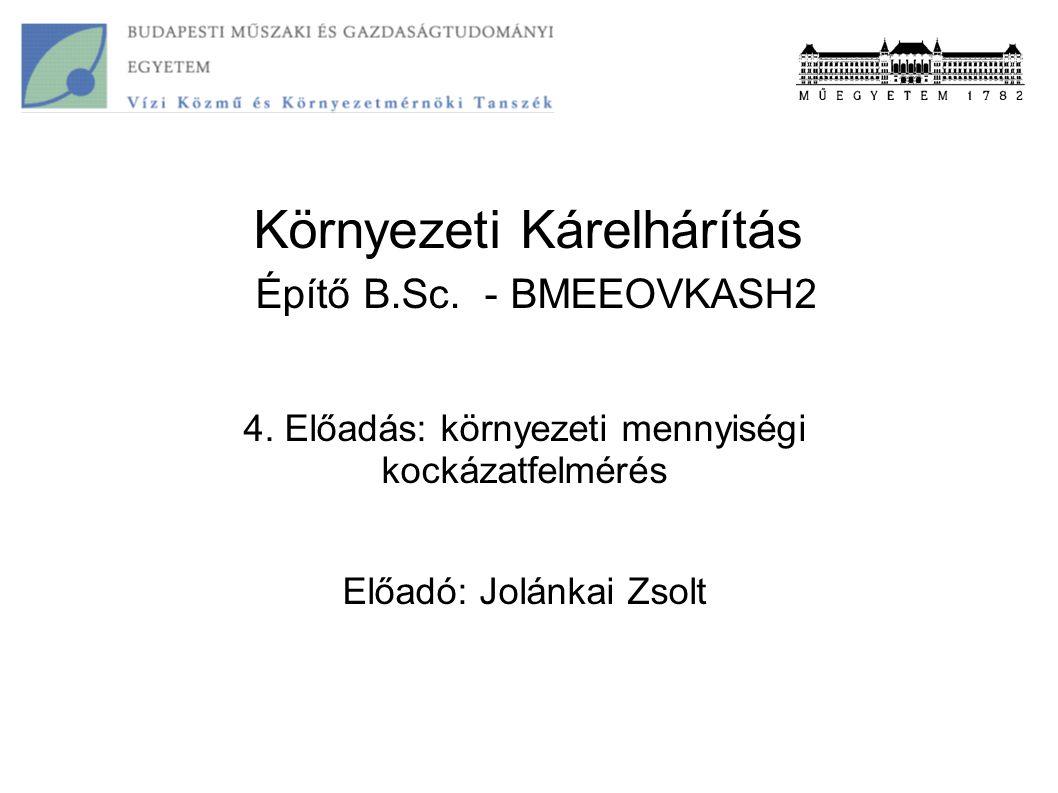 Környezeti Kárelhárítás Építő B.Sc. - BMEEOVKASH2 4. Előadás: környezeti mennyiségi kockázatfelmérés Előadó: Jolánkai Zsolt