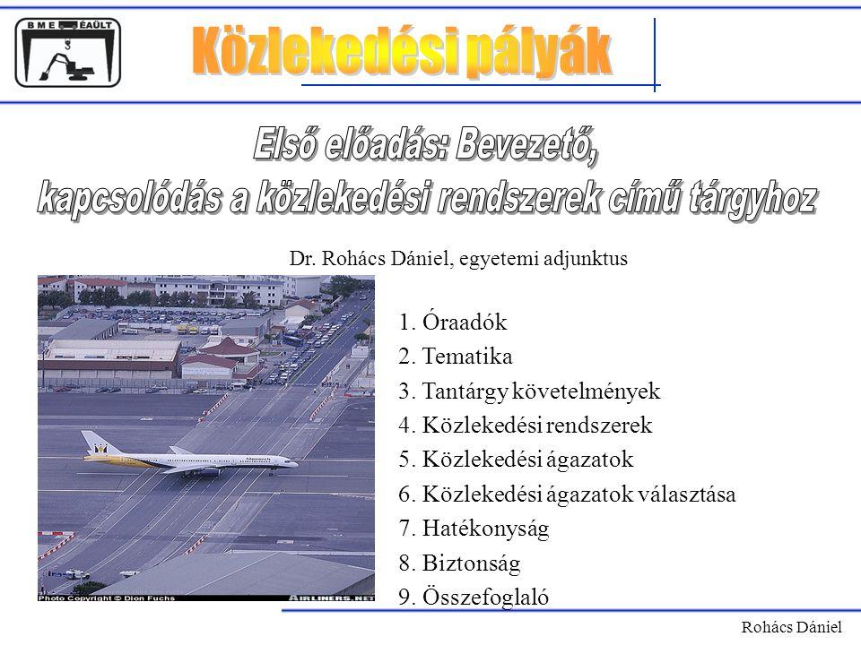 Rohács Dániel 1. Óraadók 2. Tematika 3. Tantárgy követelmények 4. Közlekedési rendszerek 5. Közlekedési ágazatok 6. Közlekedési ágazatok választása 7.