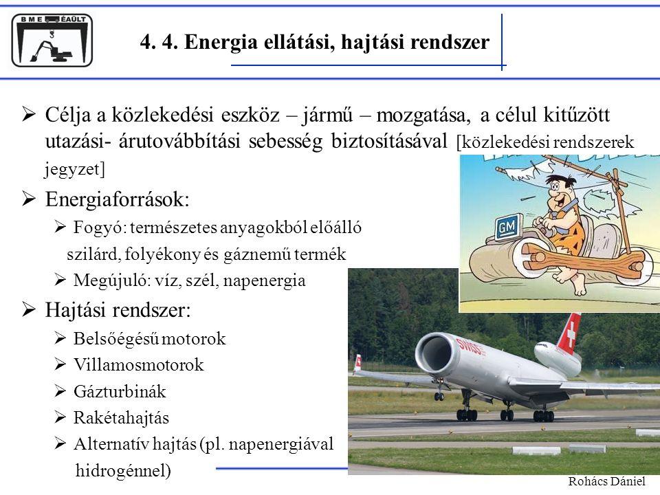 4. 4. Energia ellátási, hajtási rendszer Rohács Dániel  Célja a közlekedési eszköz – jármű – mozgatása, a célul kitűzött utazási- árutovábbítási sebe