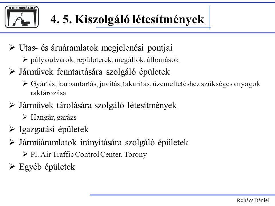 4. 5. Kiszolgáló létesítmények Rohács Dániel  Utas- és áruáramlatok megjelenési pontjai  pályaudvarok, repülőterek, megállók, állomások  Járművek f