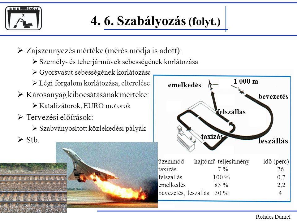 4. 6. Szabályozás (folyt.) Rohács Dániel  Zajszennyezés mértéke (mérés módja is adott):  Személy- és teherjárművek sebességének korlátozása  Gyorsv