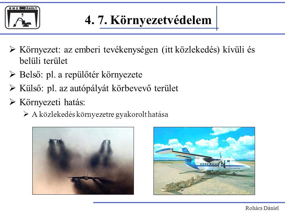 4. 7. Környezetvédelem Rohács Dániel  Környezet: az emberi tevékenységen (itt közlekedés) kívüli és belüli terület  Belső: pl. a repülőtér környezet
