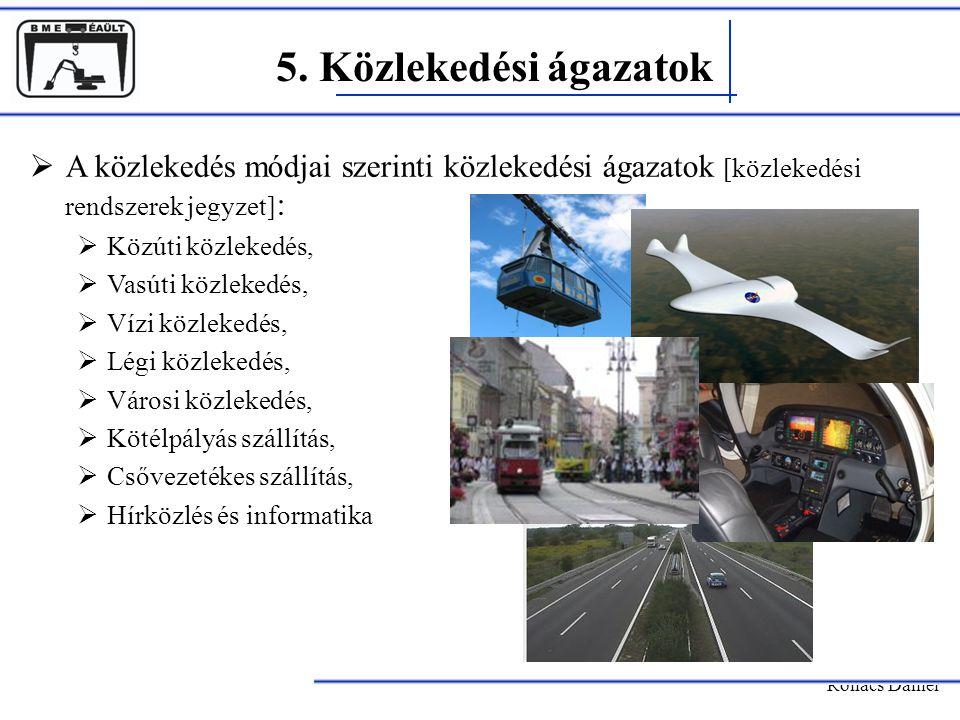 5. Közlekedési ágazatok Rohács Dániel  A közlekedés módjai szerinti közlekedési ágazatok [közlekedési rendszerek jegyzet] :  Közúti közlekedés,  Va