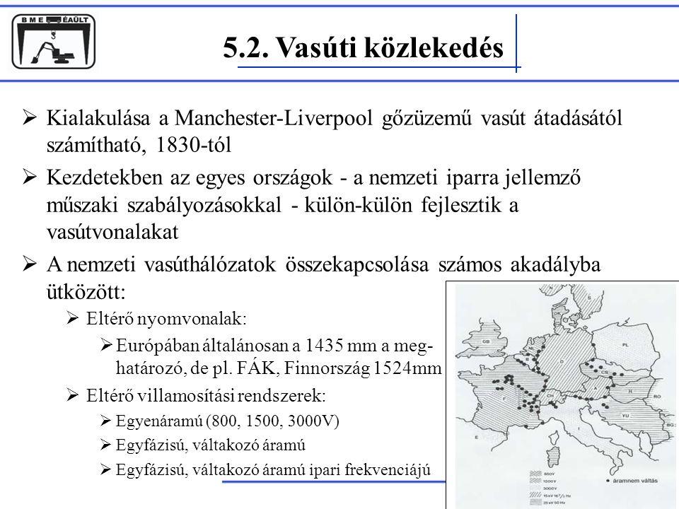 5.2. Vasúti közlekedés Rohács Dániel  Kialakulása a Manchester-Liverpool gőzüzemű vasút átadásától számítható, 1830-tól  Kezdetekben az egyes ország