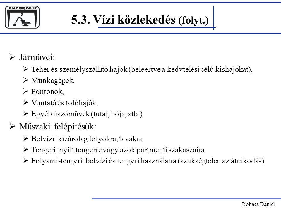5.3. Vízi közlekedés (folyt.) Rohács Dániel  Járművei:  Teher és személyszállító hajók (beleértve a kedvtelési célú kishajókat),  Munkagépek,  Pon