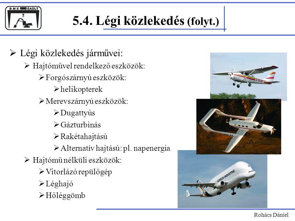 5.4. Légi közlekedés (folyt.) Rohács Dániel  Légi közlekedés járművei:  Hajtóművel rendelkező eszközök:  Forgószárnyú eszközök:  helikopterek  Me