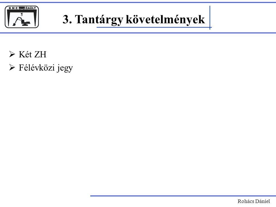 3. Tantárgy követelmények Rohács Dániel  Két ZH  Félévközi jegy