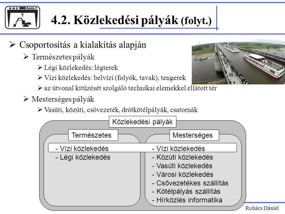 4.2. Közlekedési pályák (folyt.) Rohács Dániel  Csoportosítás a kialakítás alapján  Természetes pályák  Légi közlekedés: légterek  Vízi közlekedés