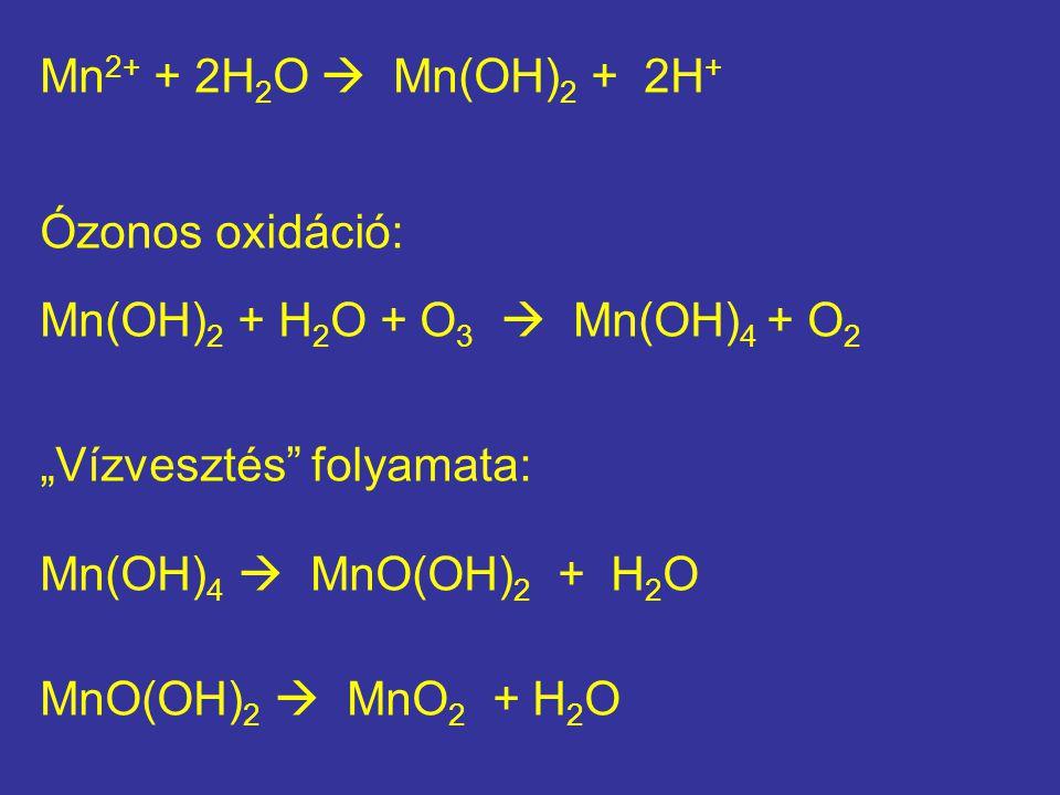 "Mn 2+ + 2H 2 O  Mn(OH) 2 + 2H + Ózonos oxidáció: Mn(OH) 2 + H 2 O + O 3  Mn(OH) 4 + O 2 ""Vízvesztés"" folyamata: Mn(OH) 4  MnO(OH) 2 + H 2 O MnO(OH)"