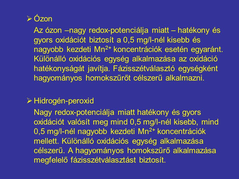  Ózon Az ózon –nagy redox-potenciálja miatt – hatékony és gyors oxidációt biztosít a 0,5 mg/l-nél kisebb és nagyobb kezdeti Mn 2+ koncentrációk eseté
