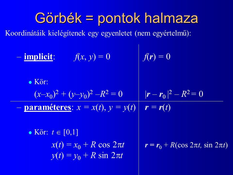 2D egyenes n  (r – r 0 ) = 0 n x (x – x 0 ) + n y (y – y 0 ) = 0 ax + by + c = 0 (x, y, 1)  (a, b, c) = 0 y r0r0 r v irányvektor n normálvektor r = r 0 + v t, t  [-∞,∞] x = x 0 + v x t y = y 0 + v y t x implicit paraméteres