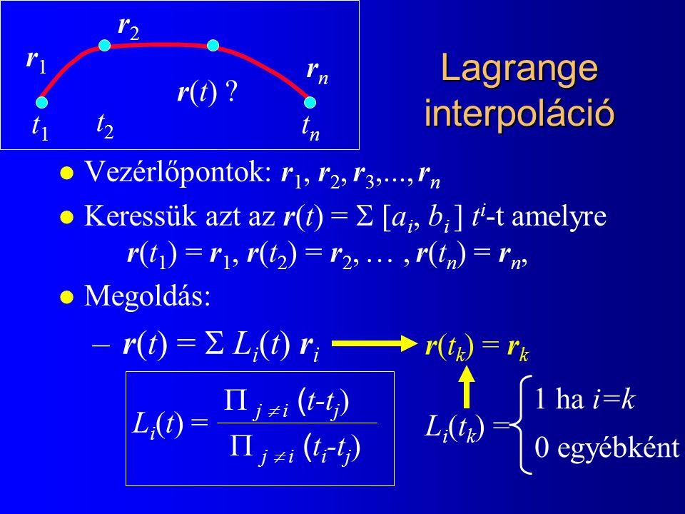 B-spline l Válasszunk olyan reprezentációt, amely C 2 folytonos, ha 3-t közösen birtokolnak l Reprezentáció: vezérlőpontok r i (t) = B 0 (t)r 0 + B 1 (t)r 1 + B 2 (t)r 2 + B 3 (t)r 3 r i+1 (t) = B 0 (t)r 1 + B 1 (t)r 2 + B 2 (t)r 3 + B 3 (t)r 4 r0r0 r1r1 r2r2 r3r3 r4r4  B i (t) = 1