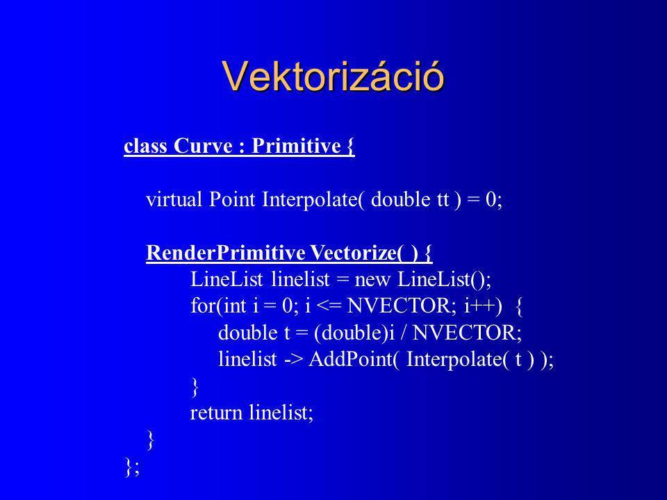 Bezier görbe interpoláció class Bezier : Curve { Point Interpolate( double tt ) { Point rr(0, 0); for(int i = 0; i < npoints; i++) { double Bi = 1.0; for(int j = 1; j <= i; j++) Bi *= tt * (npoints-j)/j; for( ; j < npoints; j++) Bi *= (1-tt); rr += points[i] * Bi; } return rr; } }; B i (t) = t i ( 1-t) n-i ( )( ) n i r(t) =  B i (t) r i