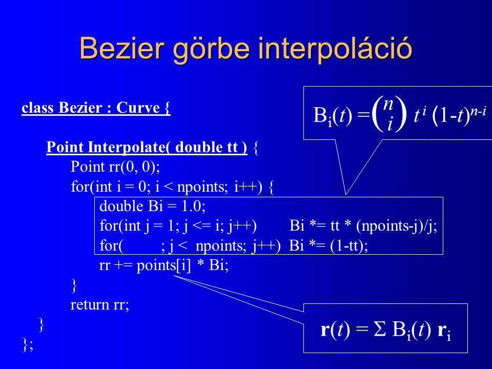 RenderPrimitive class RenderPrimitive { Point * points; Colorcolor; void Transform( Transform T ) { for each point i do points[i].Transform( T ); } virtual Bool Clip( Rect cliprect ) = 0; virtual void Draw( ) = 0; }; class Line : public RenderPrimitive { Line( Point p1, Point p2 ) { points = new Point[2]; points[0] = p1; points[1] = p2; } Bool Clip( Rect cliprect ) { Cohen-Sutherland vágás } void Draw( ) { Szakaszrajzoló algoritmus: PutPixel(X, Y, color) } };